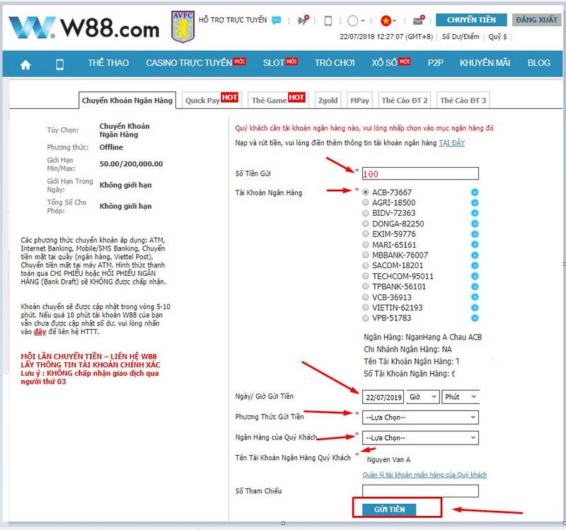 hướng dẫn nạp tiền w88 1
