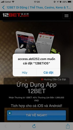 Hướng dẫn cá cược trực tuyến trên ứng dụng 12Bet di động