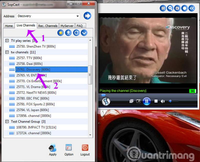 Cách dùng Sopcast xem bóng đá trực tuyến 5