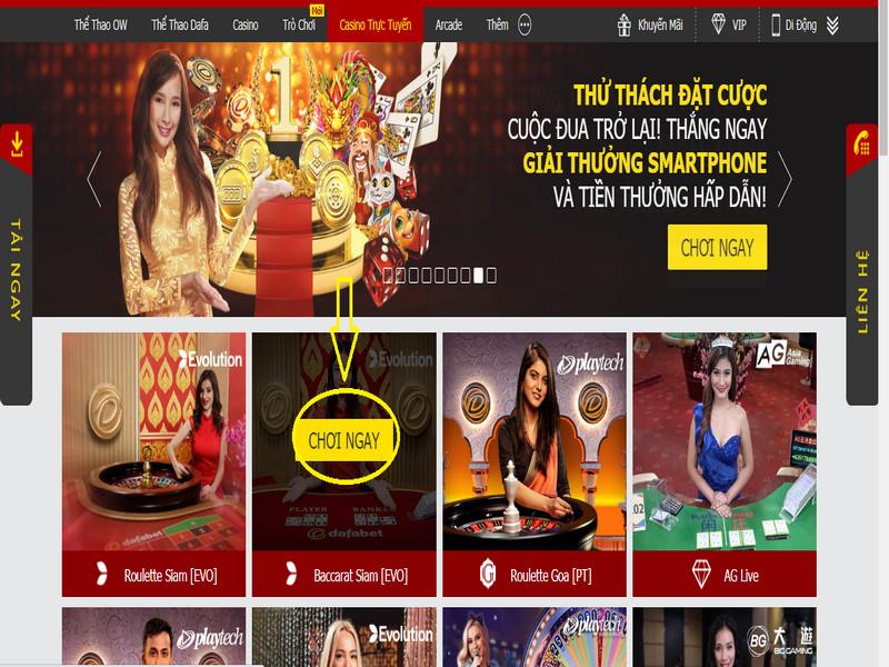 Hướng dẫn cách chơi Baccarat trực tuyến tại nhà cái casino Dafabet